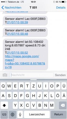 Der Bewegungssensor löst eine Übermittlung der Koordinaten per SMS aus.