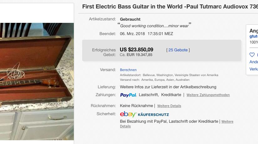 E-Bass von 1936 auf Ebay